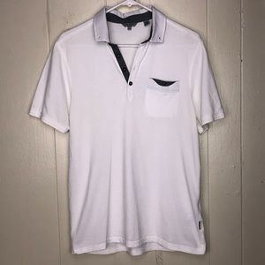 Ted Baker White Polo grey Tim sz 4